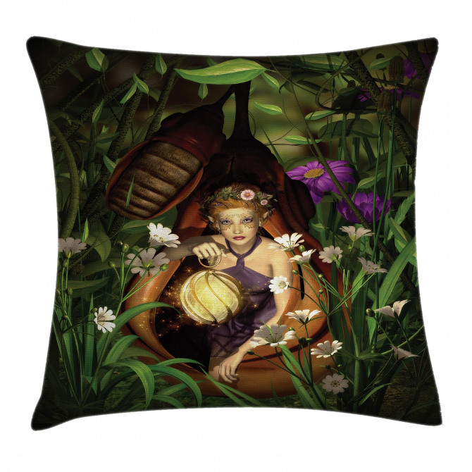 Elf with Green Lantern Pillow Cover