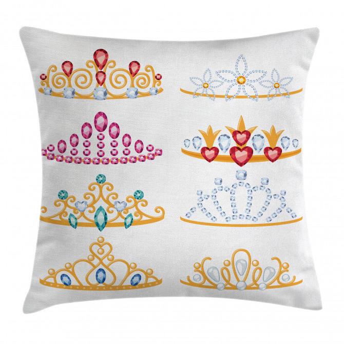 Golden Gemstones Tiaras Pillow Cover