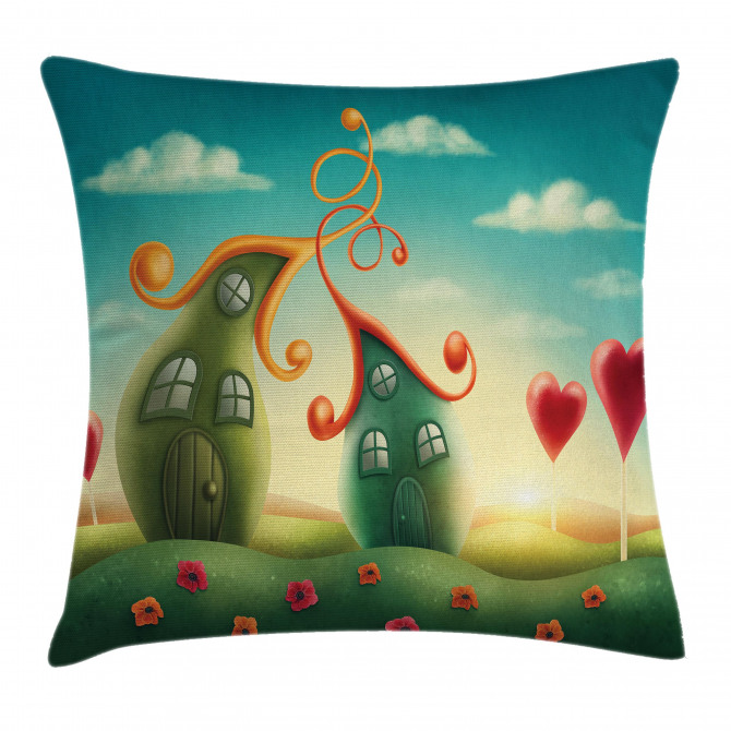 Heart Shaped Trees Red Pillow Cover