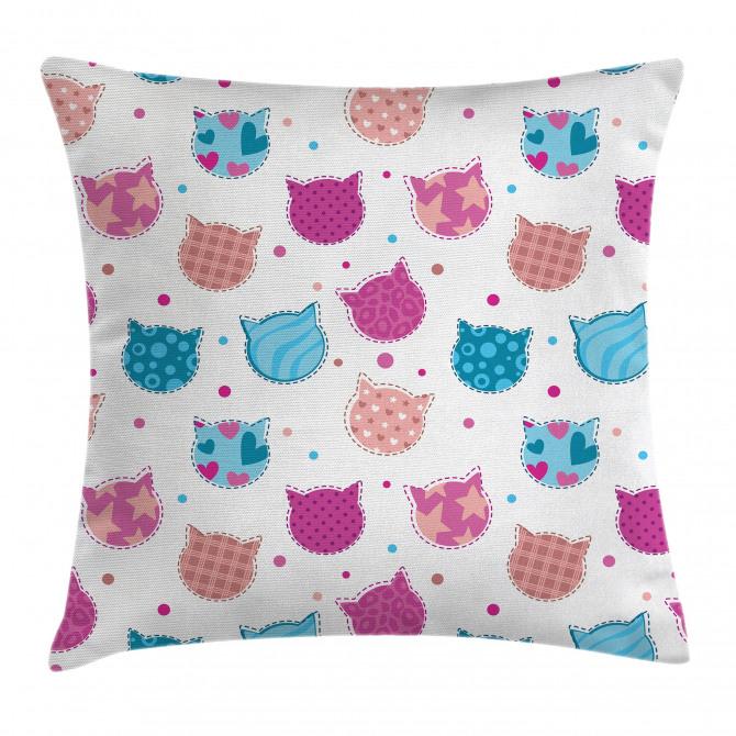 Patterned Kitten Heads Pillow Cover