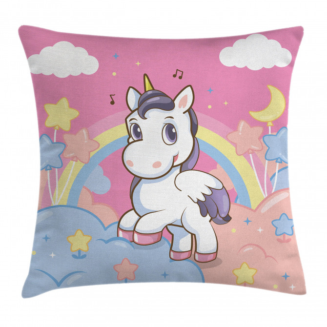 Rainbow Music Notes Pillow Cover