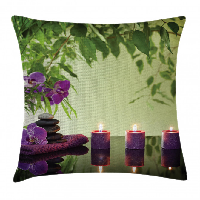 Spa Candles Orchids Bloom Pillow Cover