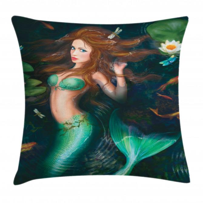 Mermaid Lake Lilies Pillow Cover