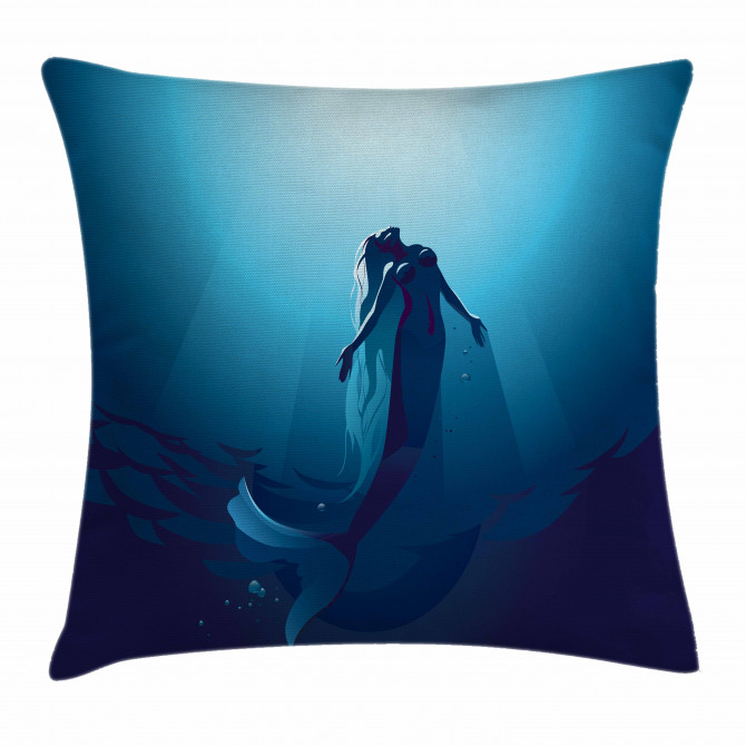 Mermaid in Deep Water Pillow Cover