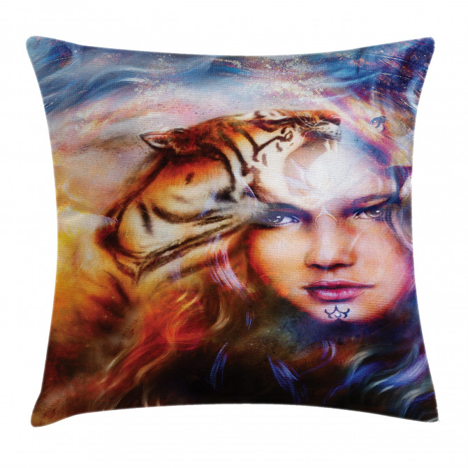 Tiger and Lion Head Pillow Cover
