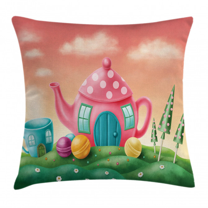 Teapot and Teacup House Pillow Cover