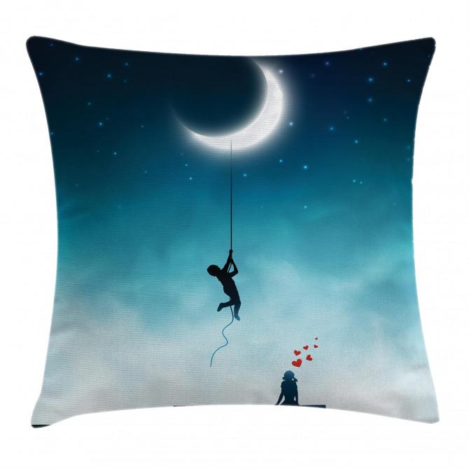 Boy Climbing to the Moon Pillow Cover