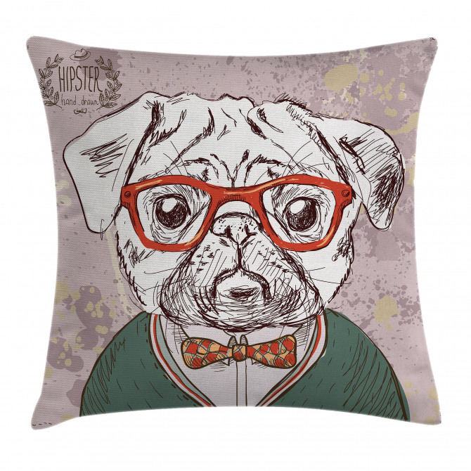Vintage Hipster Pugs Pillow Cover