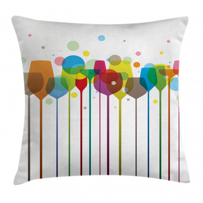 Wine Colorful Glasses Pillow Cover