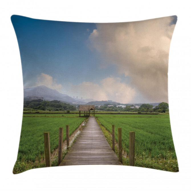 Wooden Rural Path Pillow Cover
