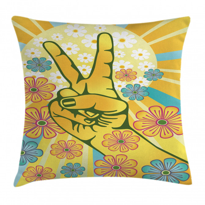 Symbol of Peace Flowers Pillow Cover