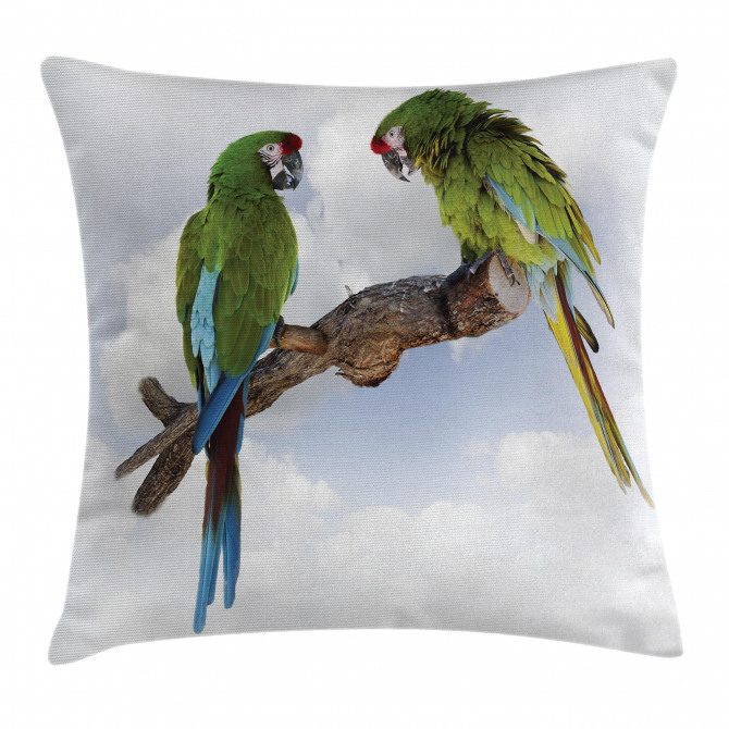 Two Parrot Macaw Bird Pillow Cover
