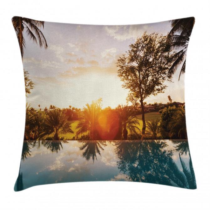 Swimming Pool Sunset Pillow Cover