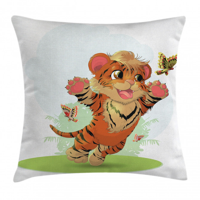 Cub With Butterflies Pillow Cover