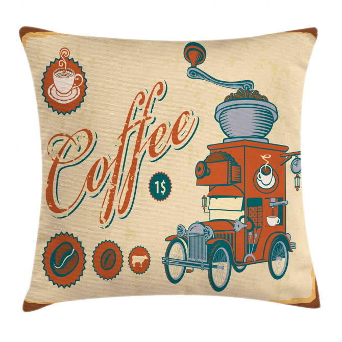 Truck Coffee Grinder Pillow Cover