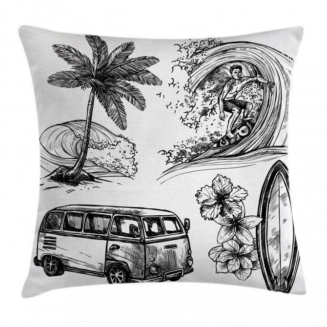Surfboard Beach Van Pillow Cover