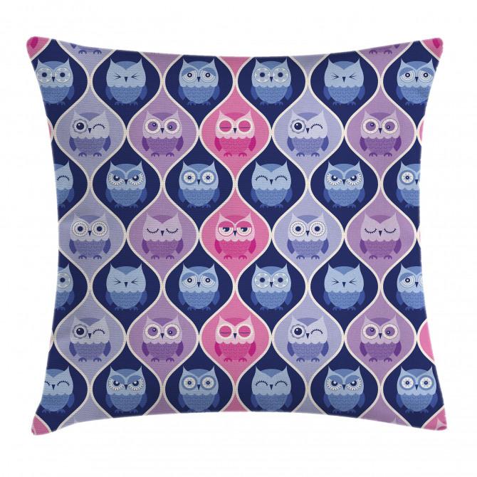 Vertical Sleeping Owls Pillow Cover