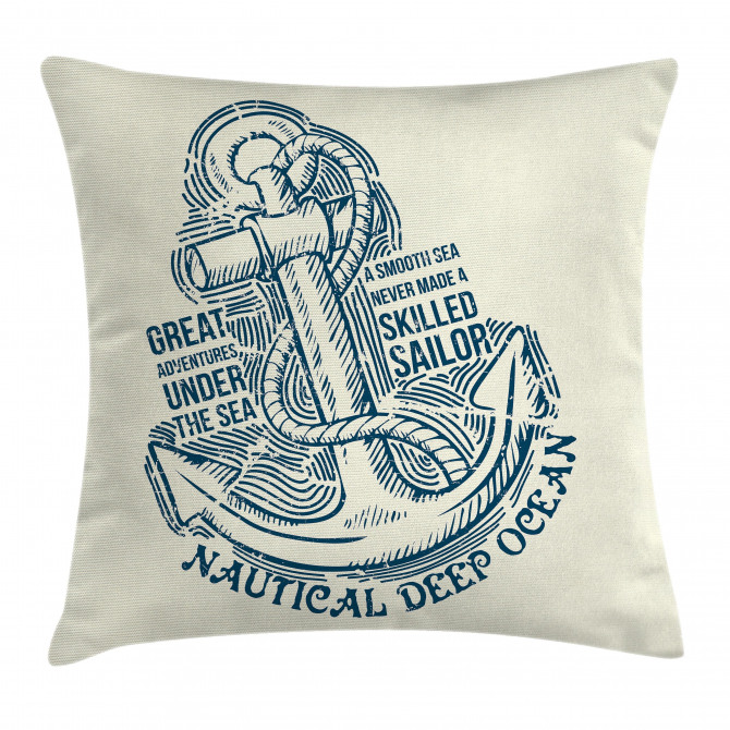 Vintage Nautical Sea Pillow Cover