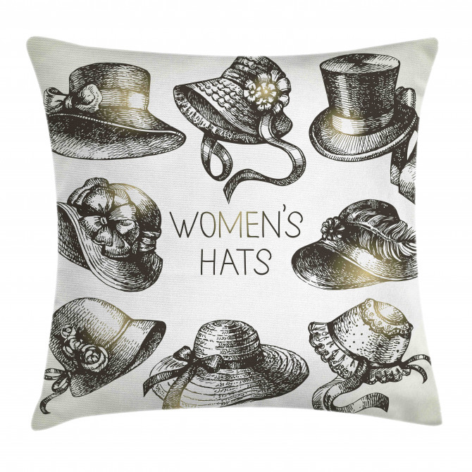 Vintage Woman Hats Pillow Cover