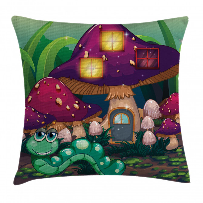 Worm Mushroom House Pillow Cover