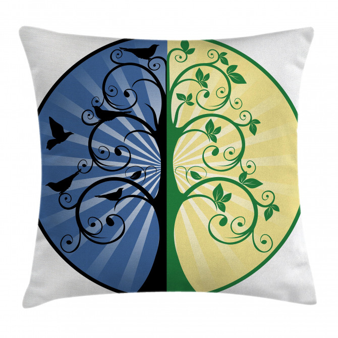Ying Yang Tree Asian Pillow Cover