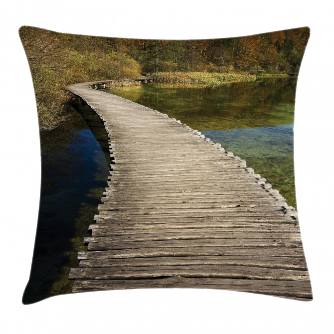 Wooden Path into Forest Pillow Cover