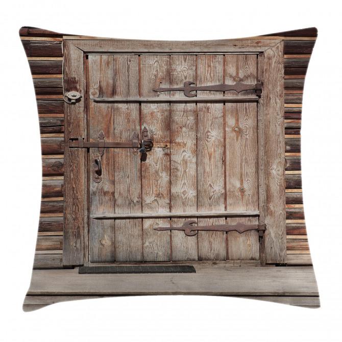 Timber Door Log House Pillow Cover
