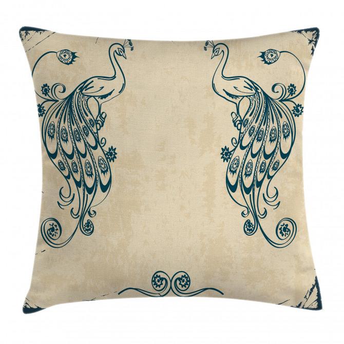Vintage Peacock Bird Pillow Cover