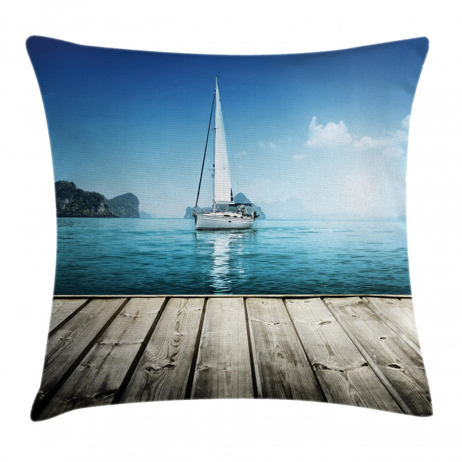 Yacht and Wooden Deck Pillow Cover