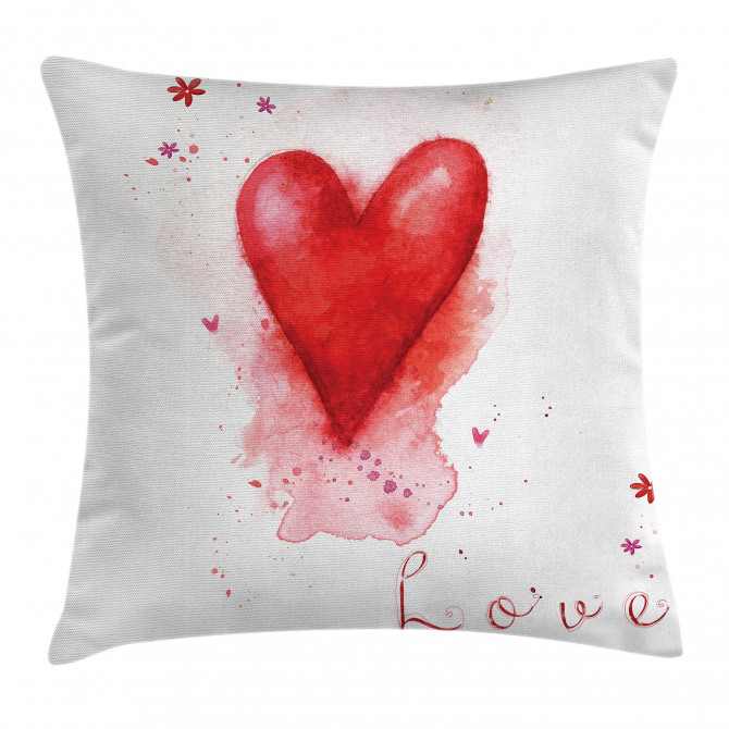 Watercolor Effect Heart Pillow Cover
