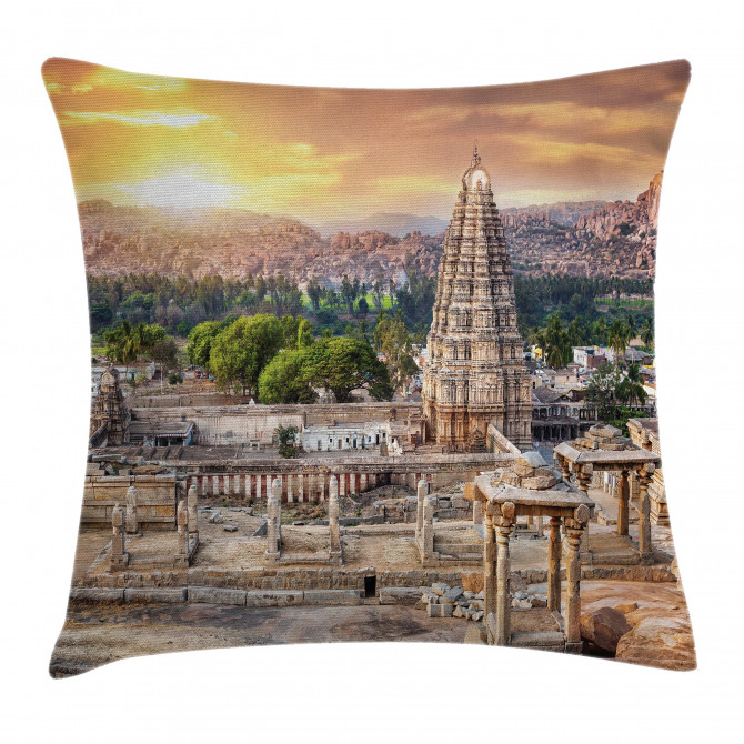 Tower Temple at Sunset Pillow Cover