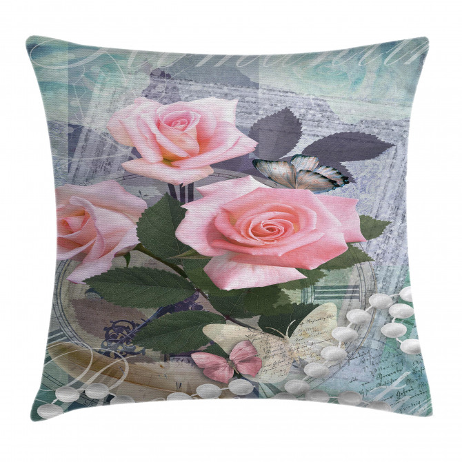 Vintage Rose Romance Pillow Cover