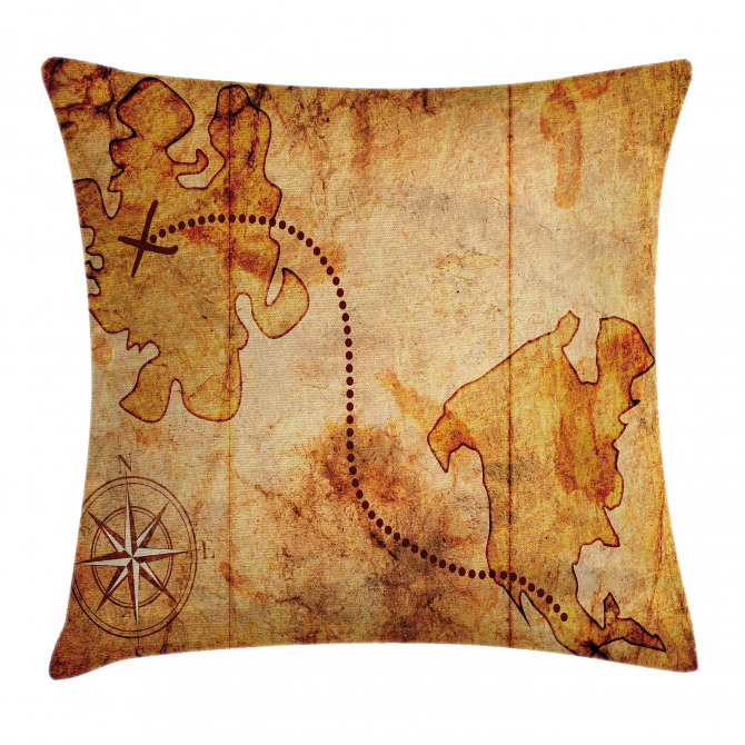 Treasure Map Compass Pillow Cover