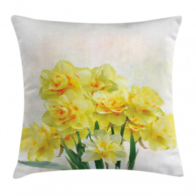 Paint of Daffodils Bouquet Pillow Cover