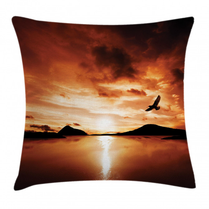 Sunset Sea Mountain Wings Pillow Cover
