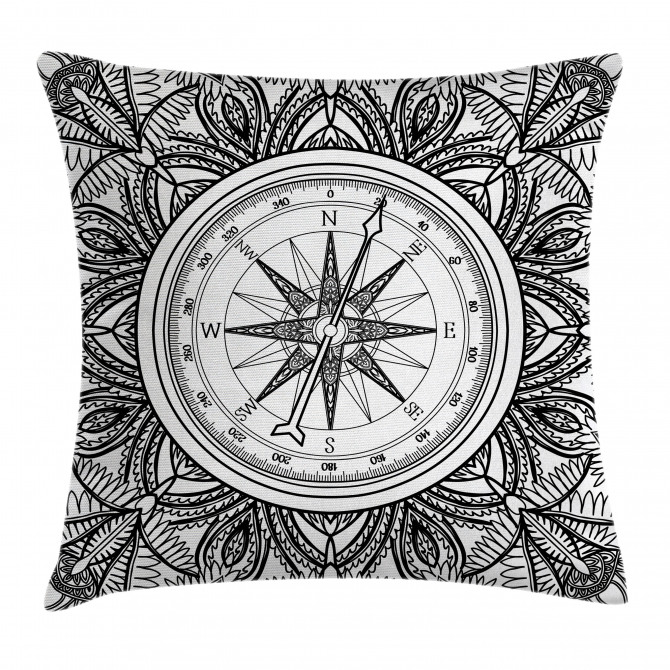 Ornate Floral Wind Rose Pillow Cover