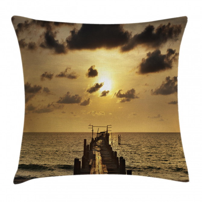 Old Wood Deck Sunset Pillow Cover