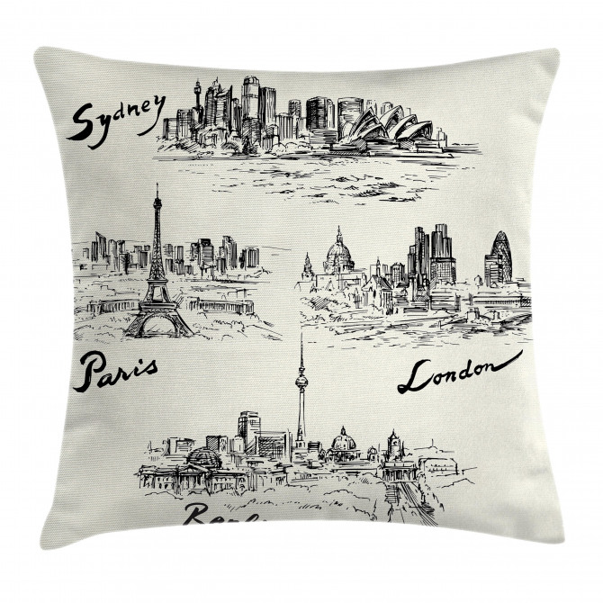 World's Famous Cities Pillow Cover
