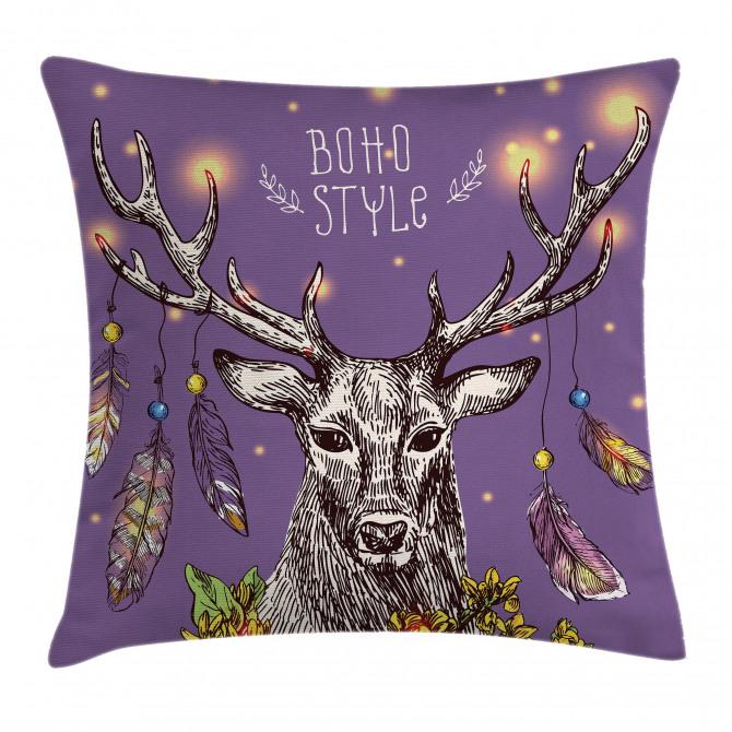 Wild Rein Deer Hand Drawn Pillow Cover