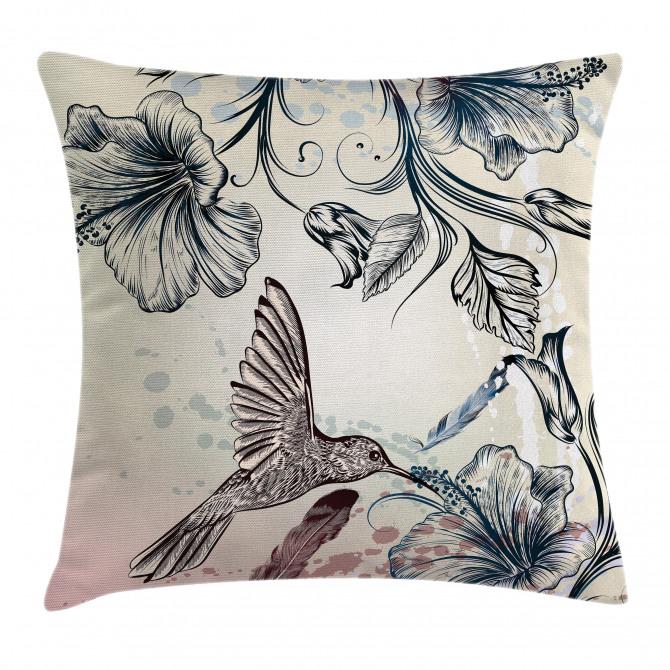 Vintage Birds Flowers Pillow Cover
