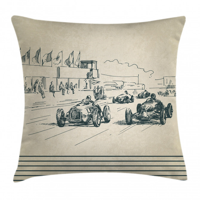 Racing Cars Sketchy Pillow Cover