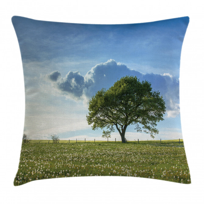 Tree on Field Summer Pillow Cover