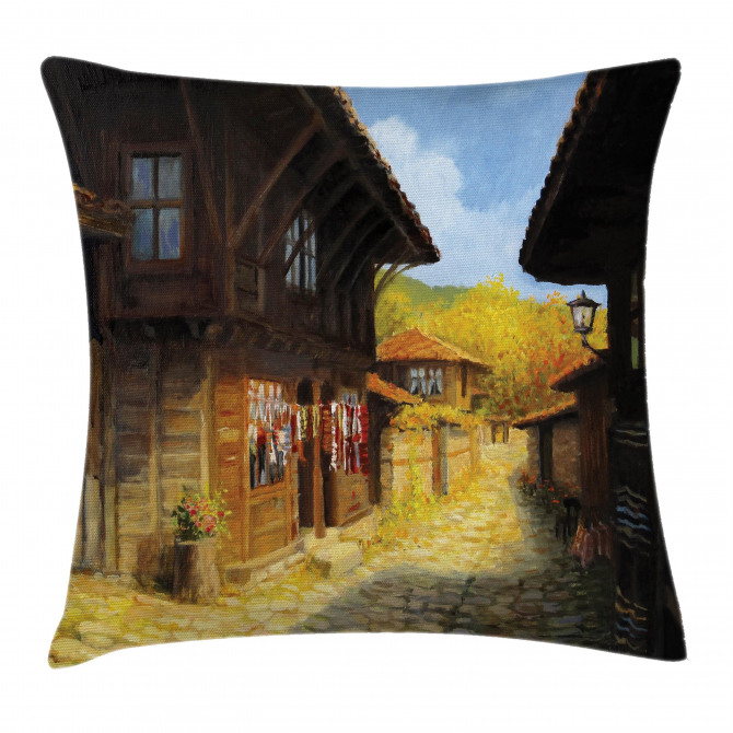 Wooden Houses in Fall Pillow Cover