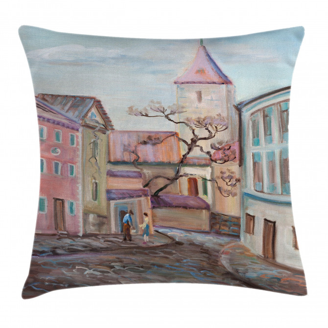 Watercolor Effect Town Pillow Cover