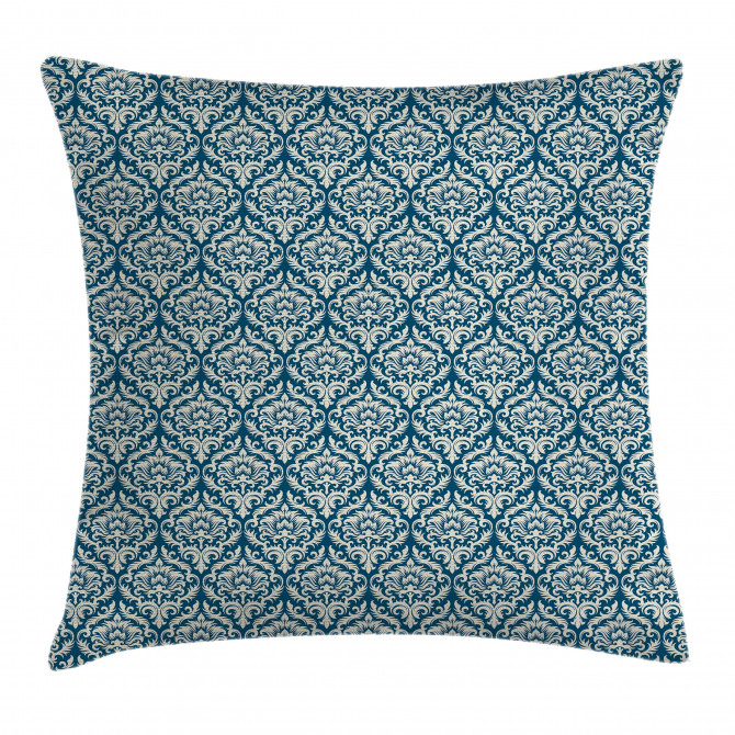 Blue Floral Pattern Pillow Cover