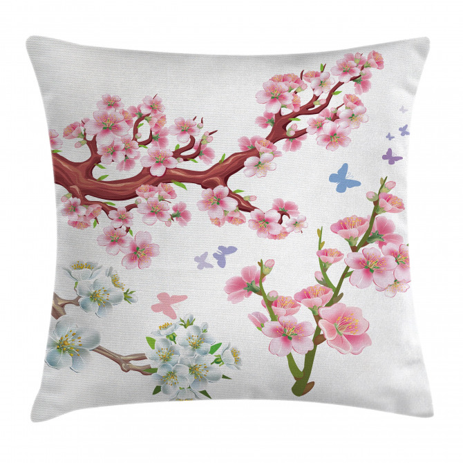 Vivid Flowering Branch Pillow Cover