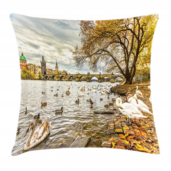 Swimming Swans in River Pillow Cover