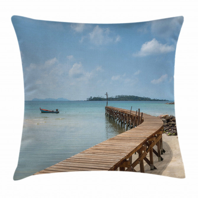 Wooden Bridge to Sea Pillow Cover