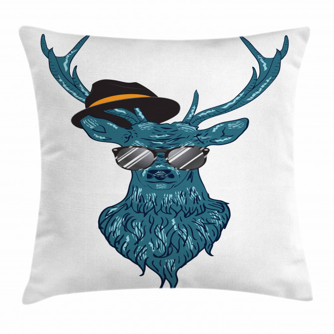 Teal Hipster Antler Print Pillow Cover