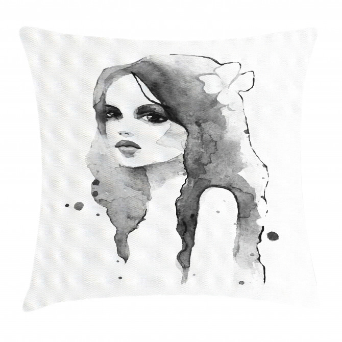 Watercolor Portrait Art Pillow Cover